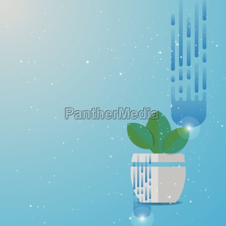 green leaves plant pot abstract background