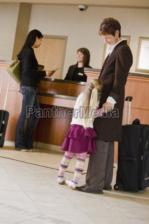 woman and child in hotel lobby