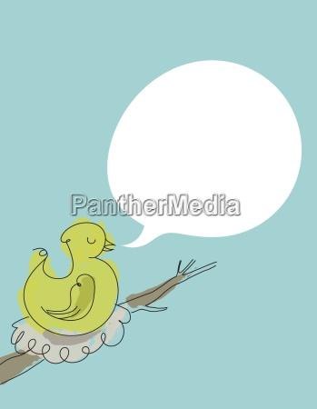 illustrated bird on nest