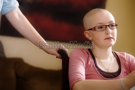 a girl with hair loss from