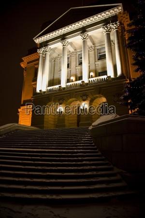 a mansion at night