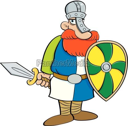 cartoon illustration of a medieval knight