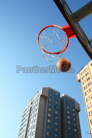 basketball pot ball and buildings