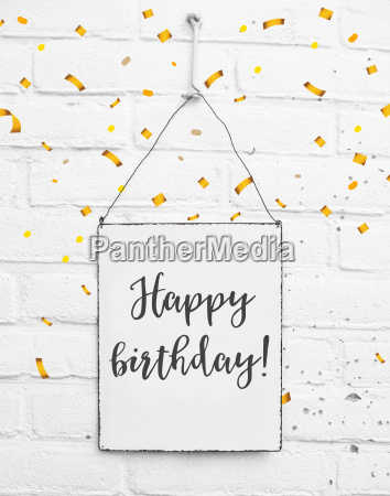 happy birthday text banner with confetti