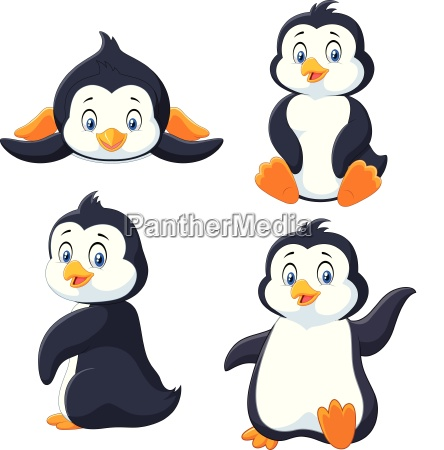 collection of cartoon penguin isolated on