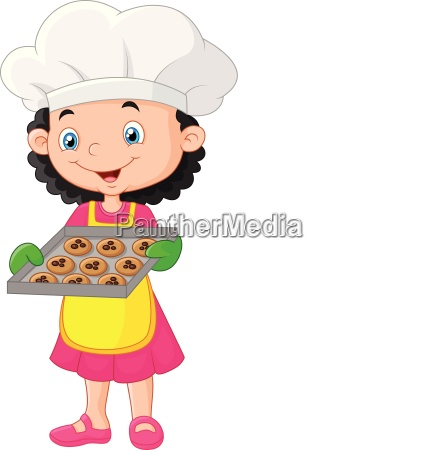 littel girl holding baking tray with