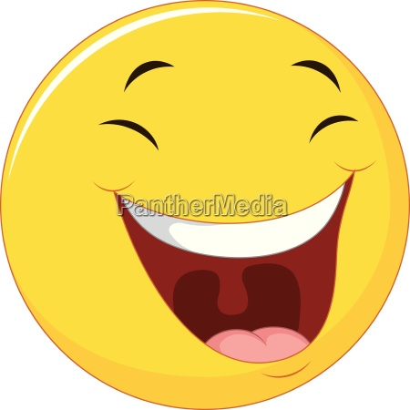 smiling emoticon with laugh face on