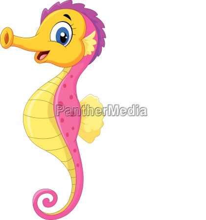 cartoon watercolor seahorse isolated on white