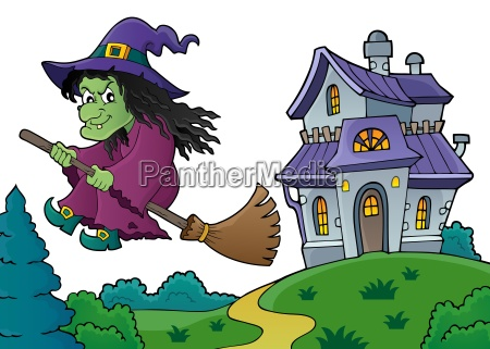 witch on broom theme image 8