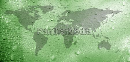 worldmap and water drops