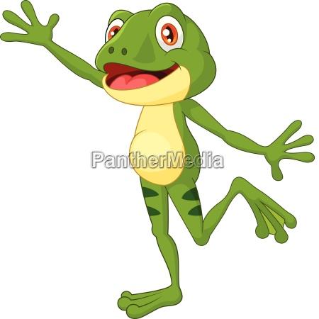 cartoon cute frog waving hand with