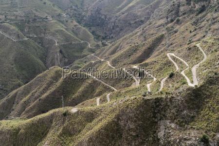 serpentine road at castelmola sicily