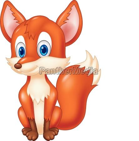 cartoon vector illustration of cute fox