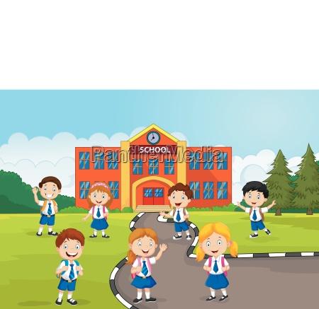 happy school children in front of