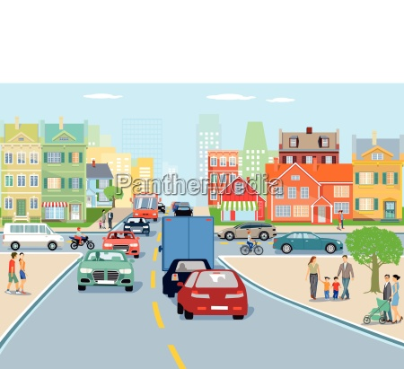city with road transport illustration
