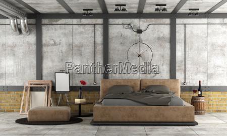 master bedroom in a loft