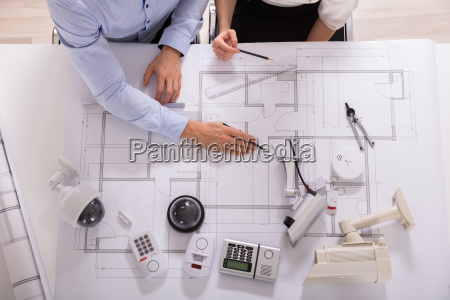 high angle view of two architects