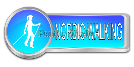 glossy blue nordic walking button
