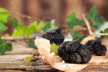 black truffles on table