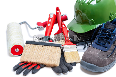 professional house painter tools and work
