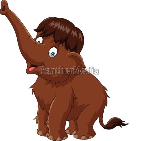 cartoon happy mammoth