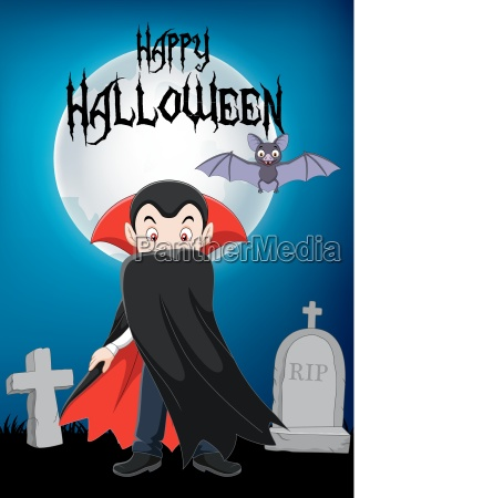 cartoon vampire character with halloween background