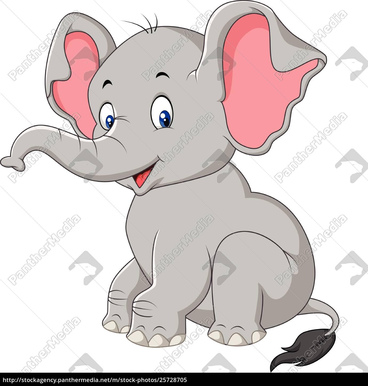 Cartoon Cute Baby Elephant Sitting Royalty Free Image 25728705 Panthermedia Stock Agency