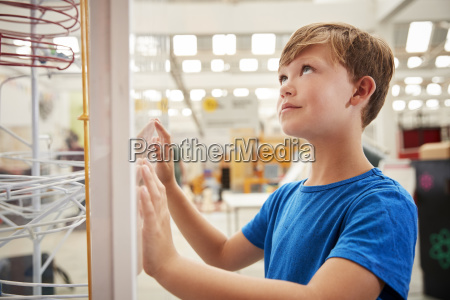 young white boy looking up at