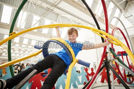 young white boy having fun using