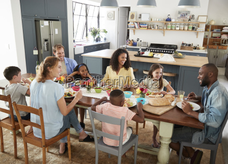 two families having lunch together at