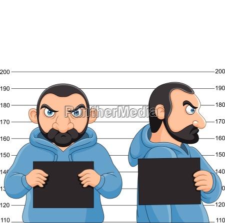 arrested man posing for mugshot holding