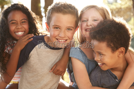 portrait of children with friends on