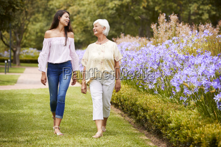 senior mother with adult daughter on