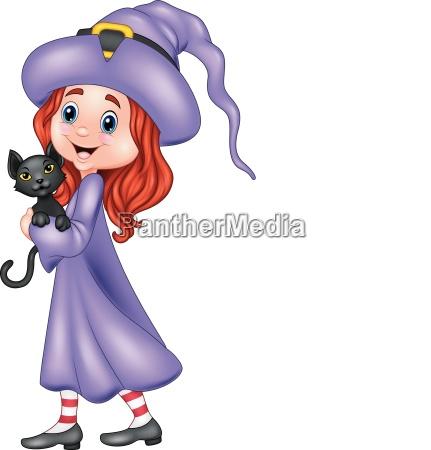 cartoon little witch holding black cat