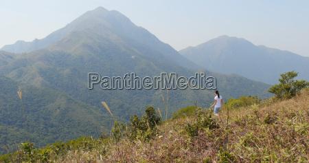woman go hiking in mountain