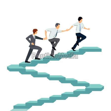 successfully climb up together teamwork illustration