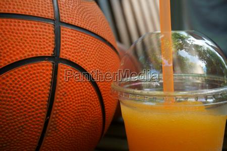 fresh squeezed orange juice and basketball