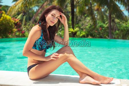 pretty woman on the beach resort
