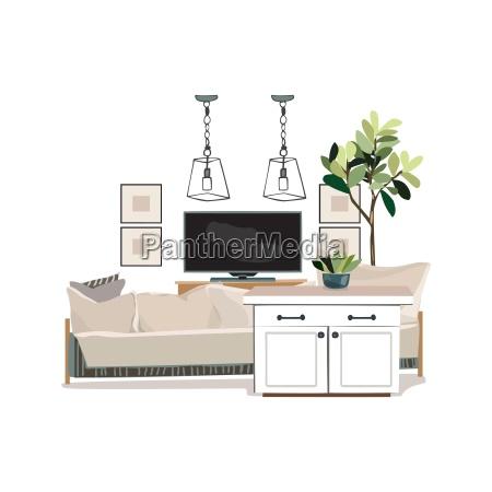 interior design illustration modern white living