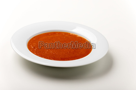 fresh tomato soup in a bowl