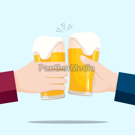 people celebrating with beer glasses and