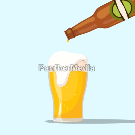 serving a beer on a blue
