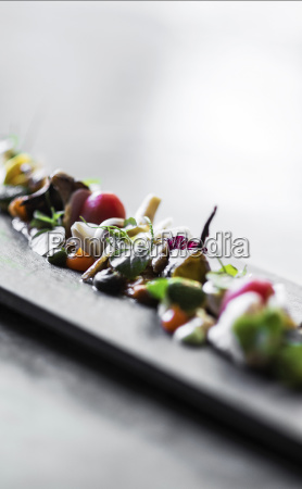 modern gourmet creative cuisine salad with