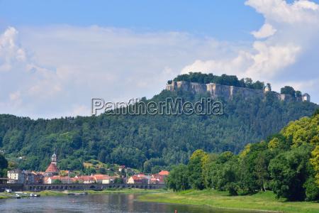 view to village koenigstein in saxon