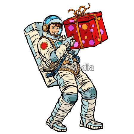 cosmonaut with gift box