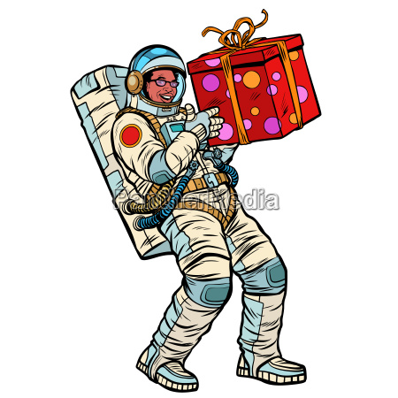 cosmonaut with gift box african american