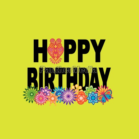 happy birthday text floral owl illustration