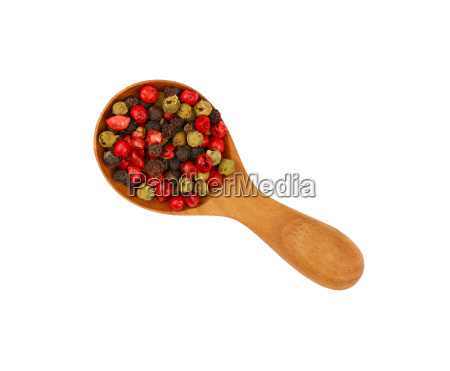 wooden scoop spoon full of mixed