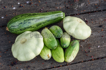 zucchini pattypan squash cucumbers harvested from