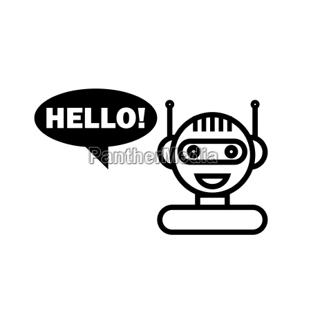 black line chat bot cute smiling